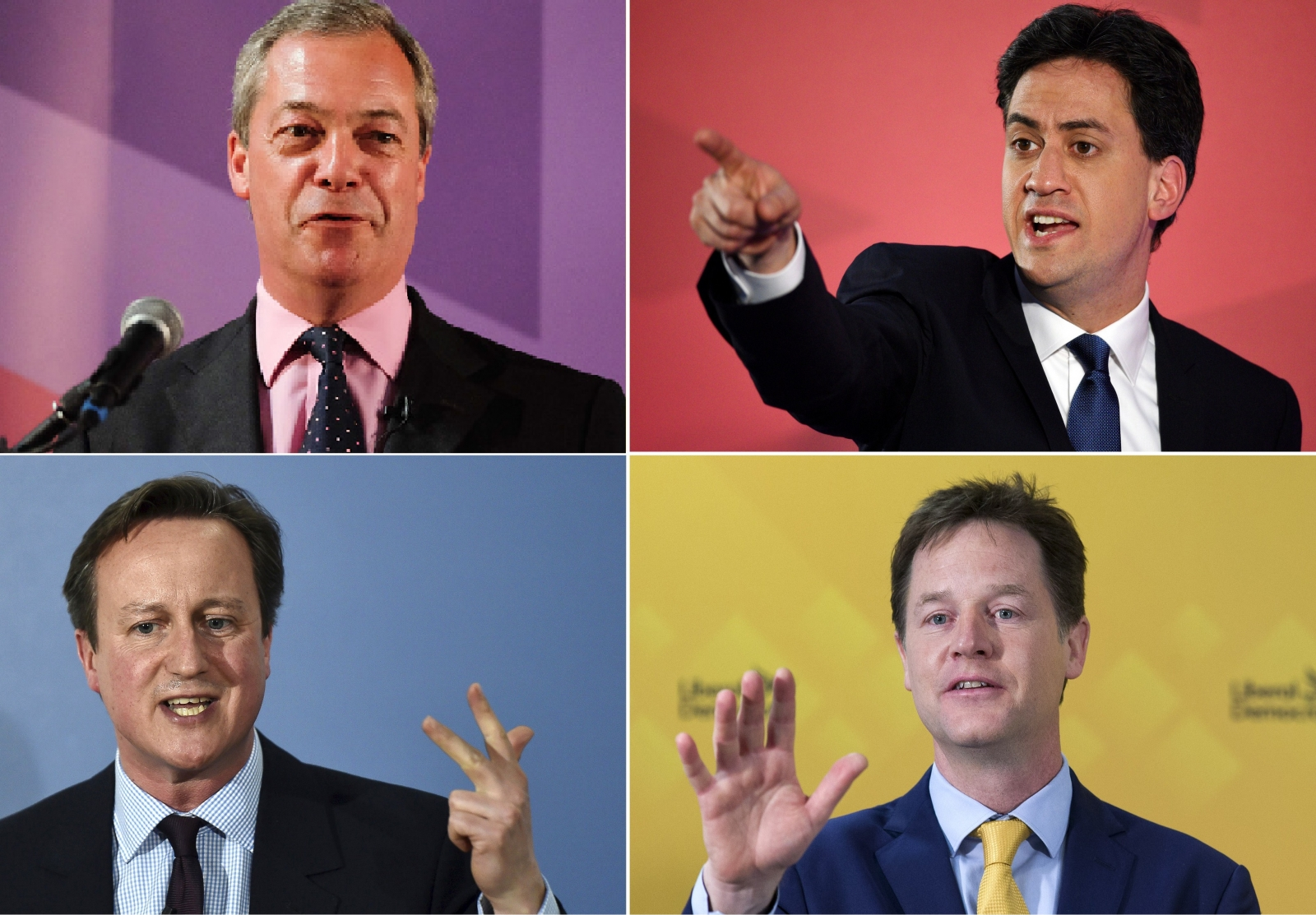Nigel Farage, Ed Miliband, David Cameron, NickClegg