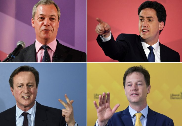 Nigel Farage, Ed Miliband, David Cameron, NickClegg