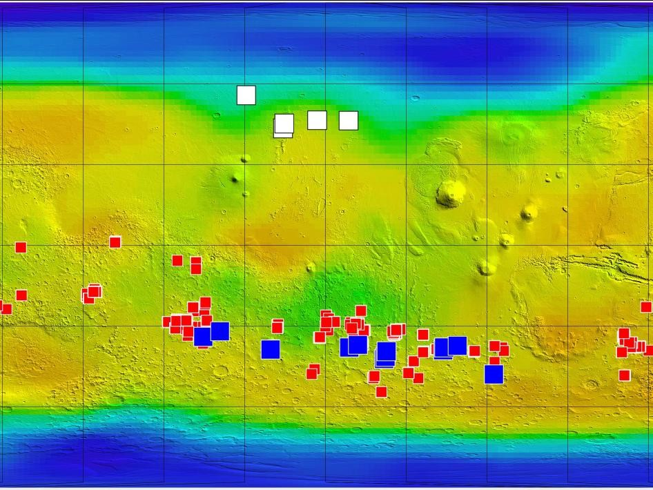 Erosion on Mars reveals ice, moves boulders