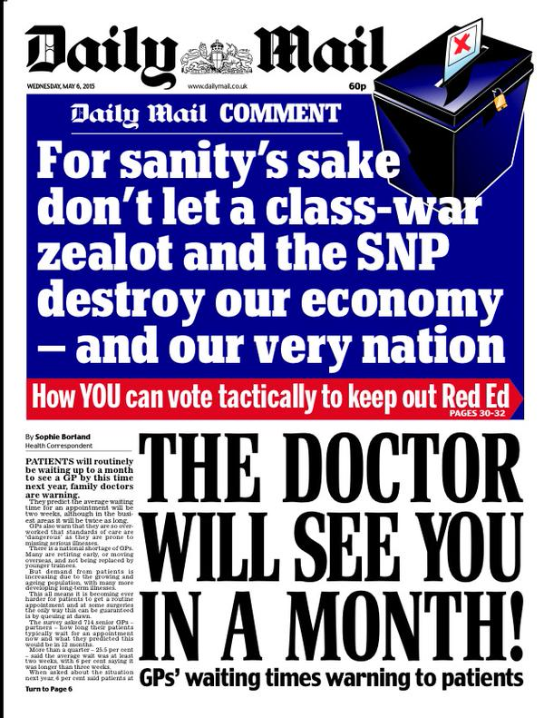 Daily Mail front page Ed Miliband