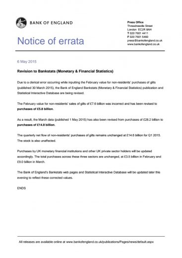 Bank of England Notice of Errata