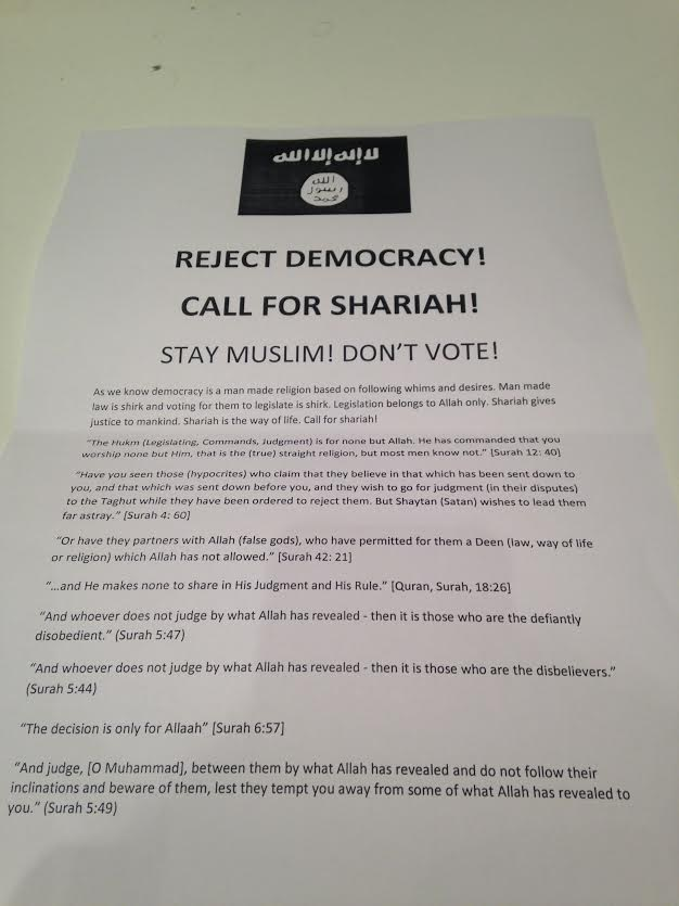 Reject democracy Muslim leaflet