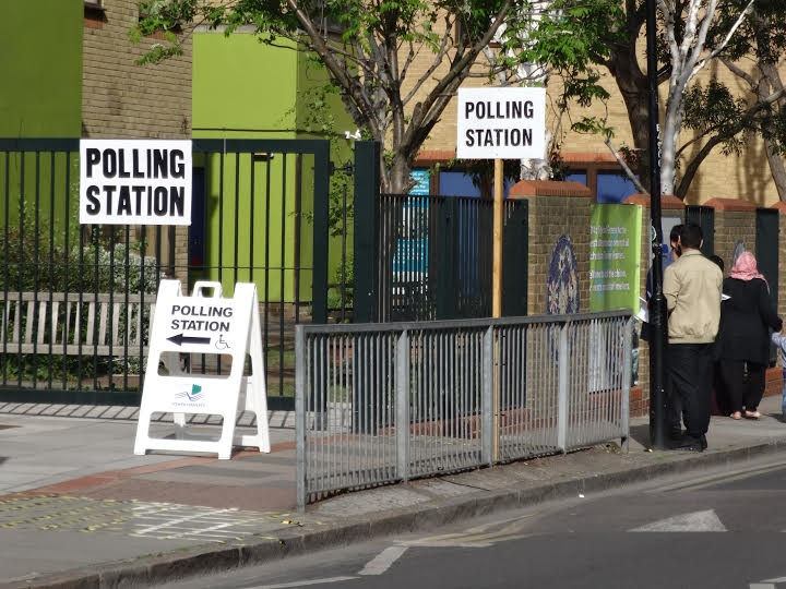 East London polling station leaflet