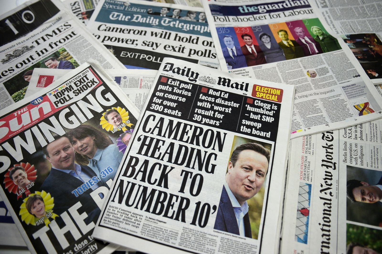 UK front pages 2015 elections