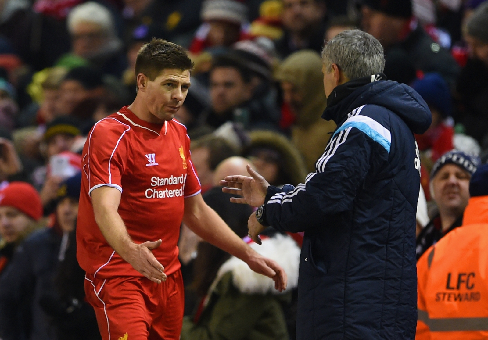 Steven Gerrard and Jose Mourinho