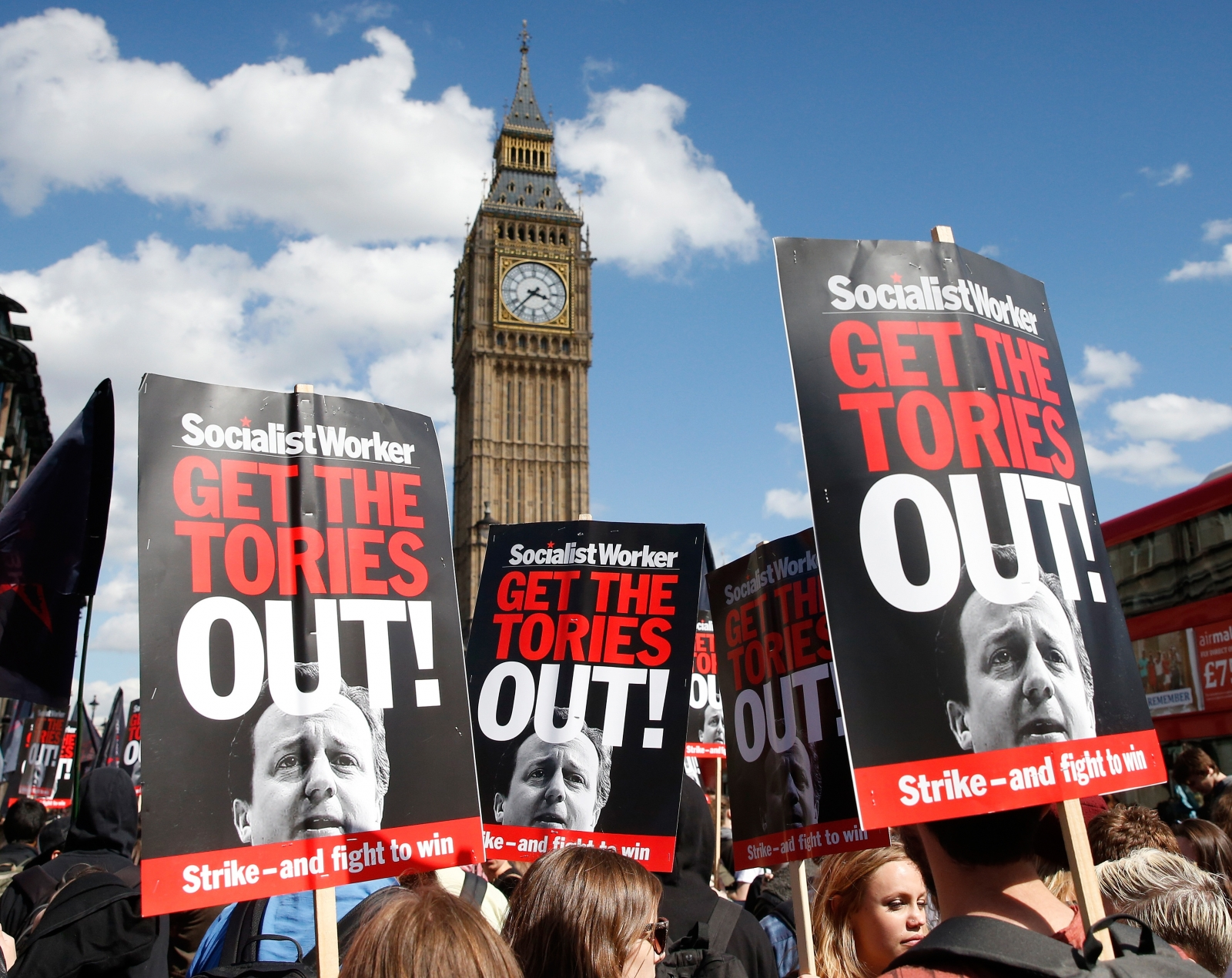 Anti-Tory sentiments ran high at the protests