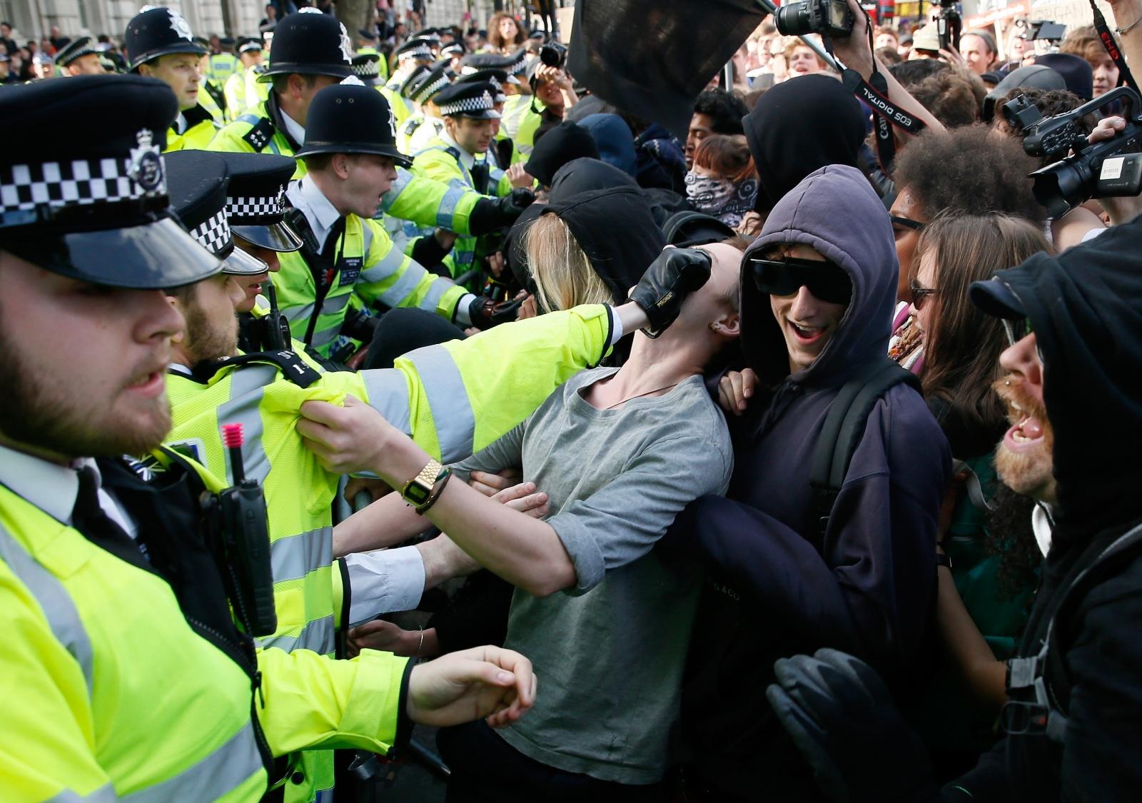 Police and protestors clash