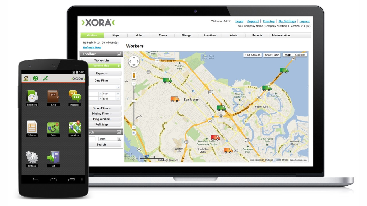 Xora mobile workforce management app