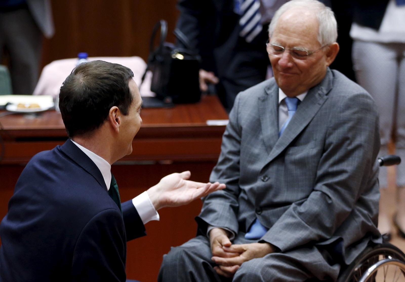George Osborne meets Wolfgang Schaüble in Brussels