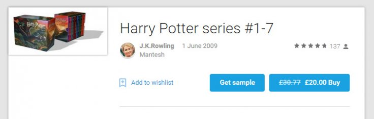 Fake ebook listing for Harry Potter series