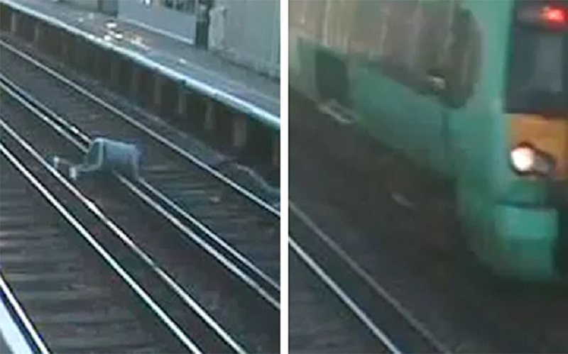 Cyclist almost hit by train in Horsham