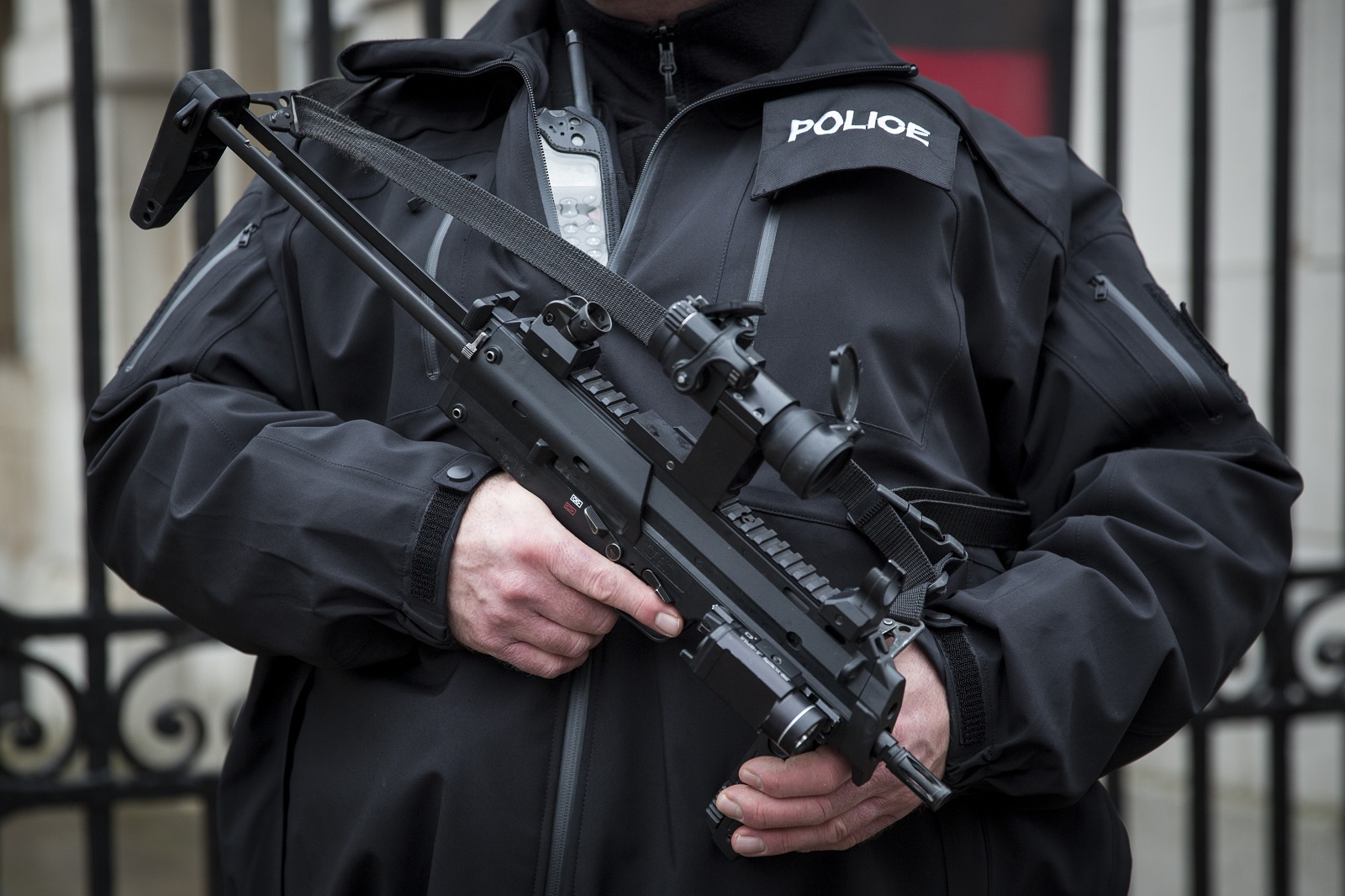 An armed police officer in London