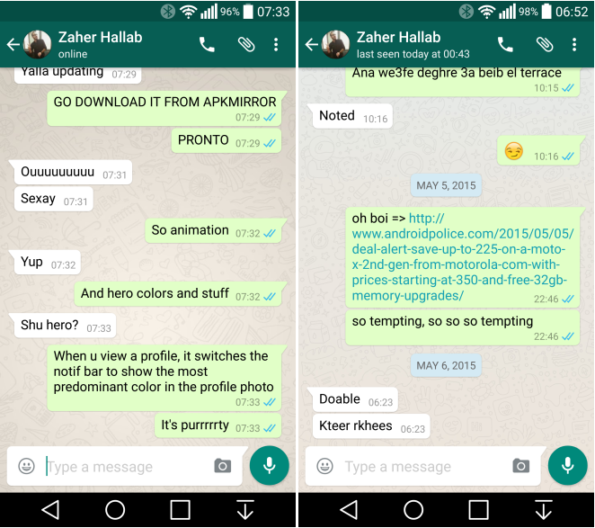 WhatsApp 2 12 87 brings Material Design UI with new calling