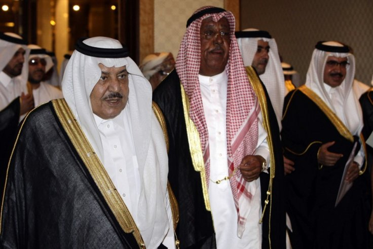Saudi Interior Minister Prince Nayef, Kuwaiti Interior Minister Sheikh Jaber Khaled and Bahriani Interior Minister Sheikh Rashed walk together before a GCC interior ministers meeting in Riyadh