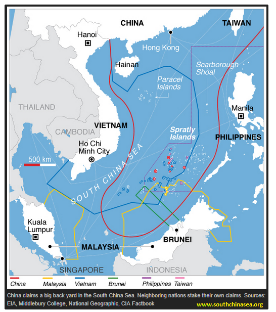 South China Sea dispute areas