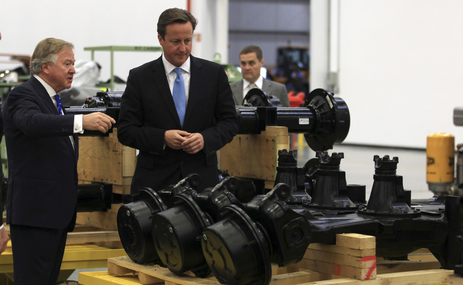 Lord Bamford and David Cameron