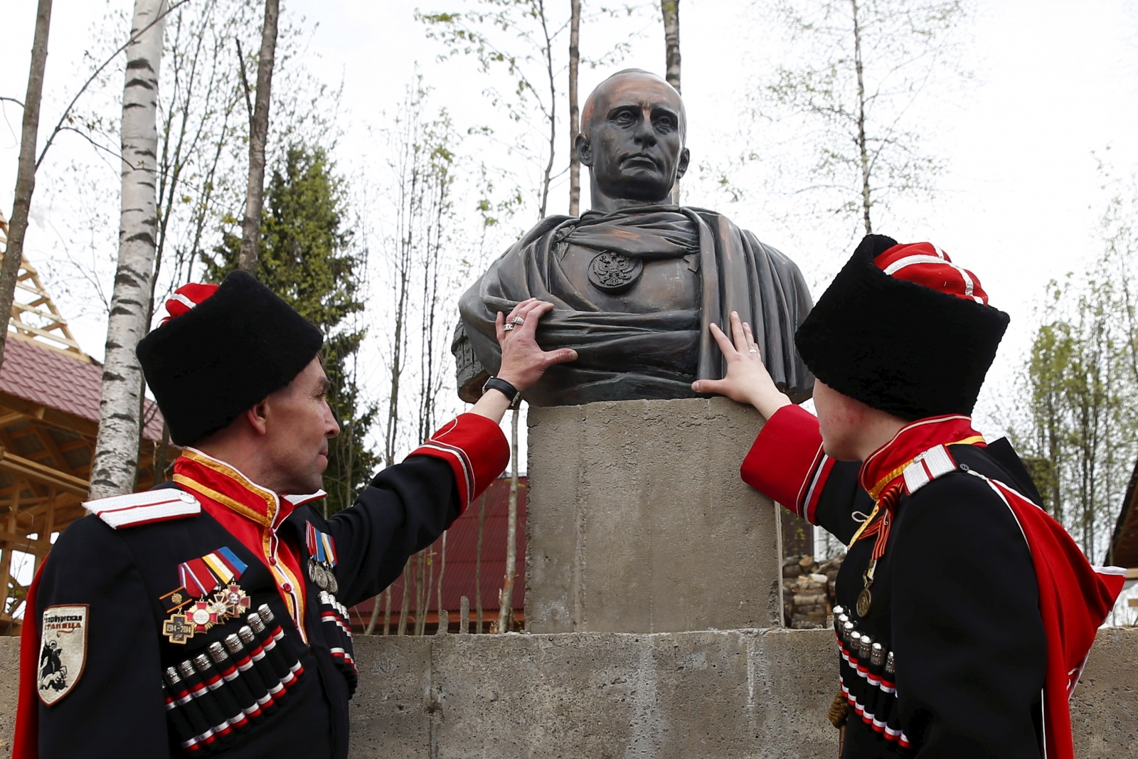 Cossacks with the Caeser bust of Putin