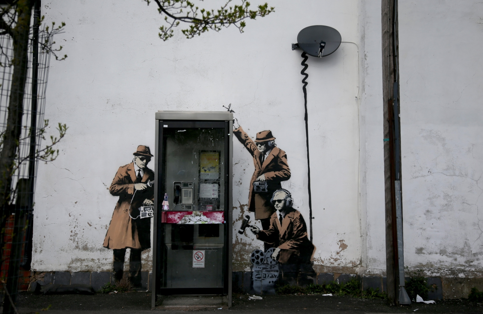 Banksy mural near GCHQ depicts spying
