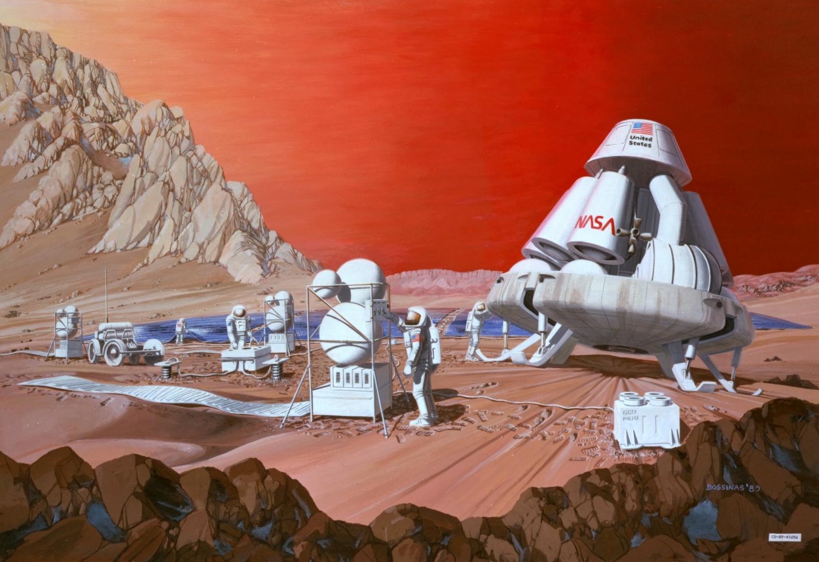1989 artist conceptualisation of a Mars mission