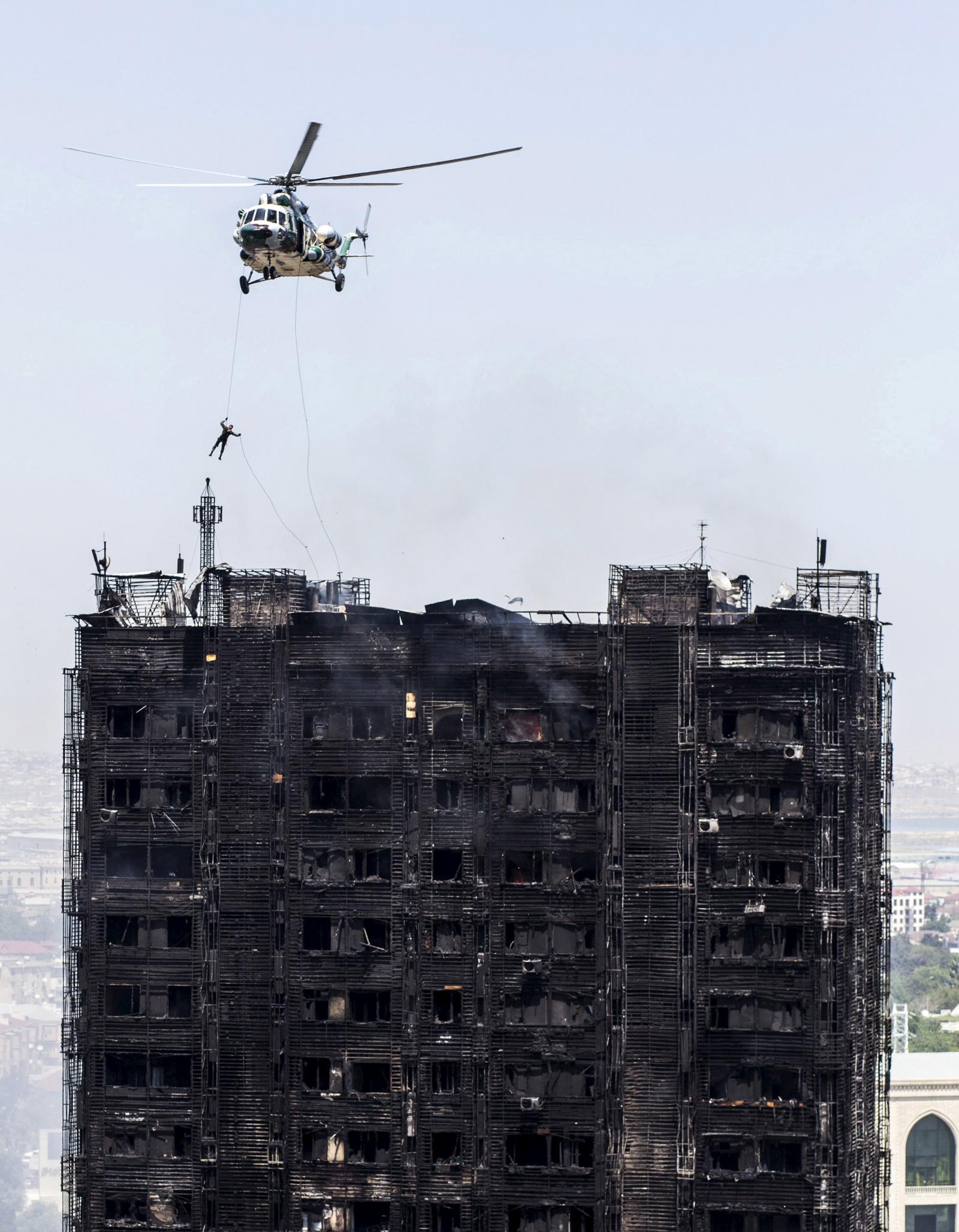 Baku inferno rescue helicopter