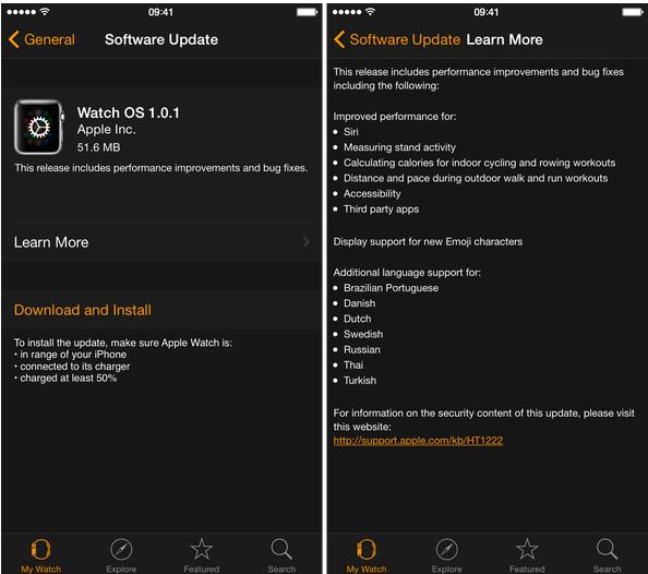 Apple Watch OS 1.0.1