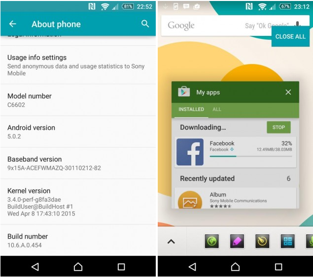Android 5.0.2 build 10.6.A.0.454
