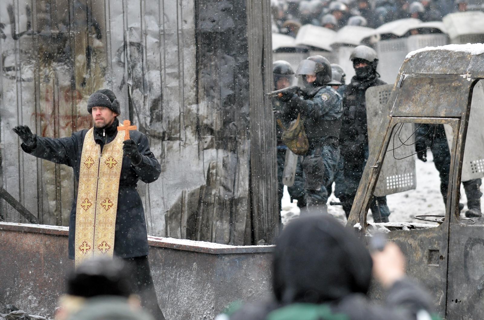 Ukraine Orthodox Priest Kiev Protest Violence War