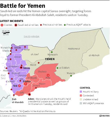 Yemen conflict map 19 May