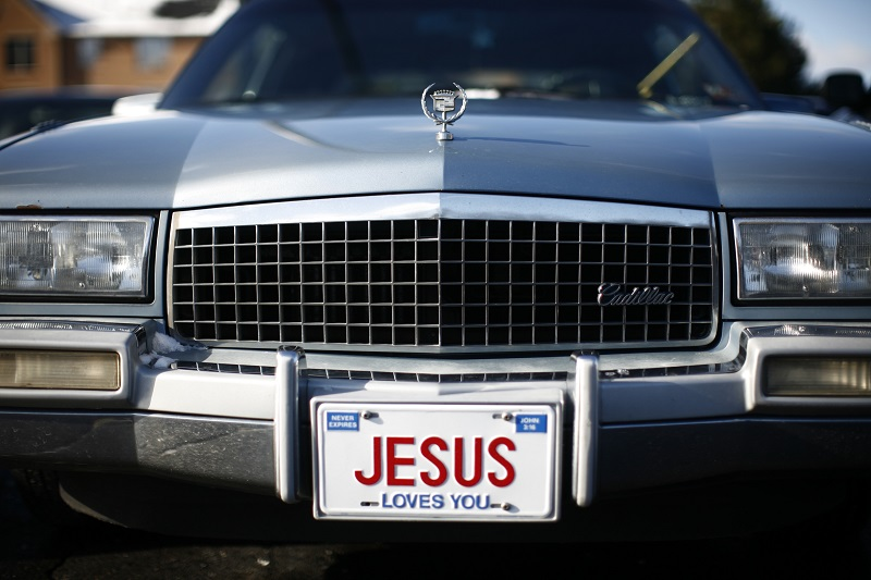 US car with Jesus licence plate