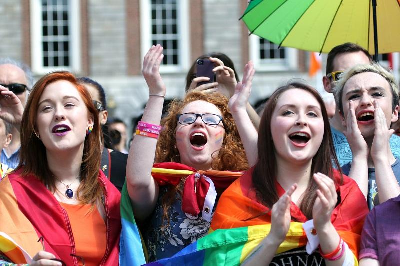 Young women celebrate Ireland marriage referendum
