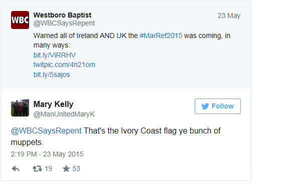 Westboro Irish flag mistake