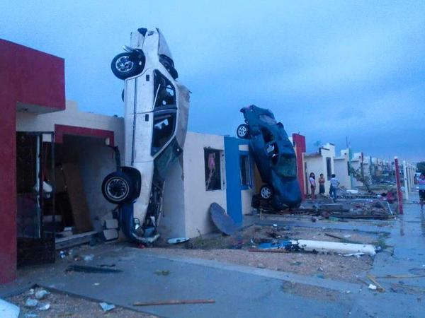 Mexico tornado wrecked cars
