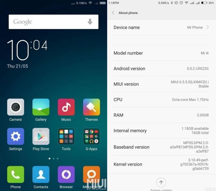 Xiaomi resumes MIUI 6 5 5 0 (LXIMICD) OTA update for Mi 4i