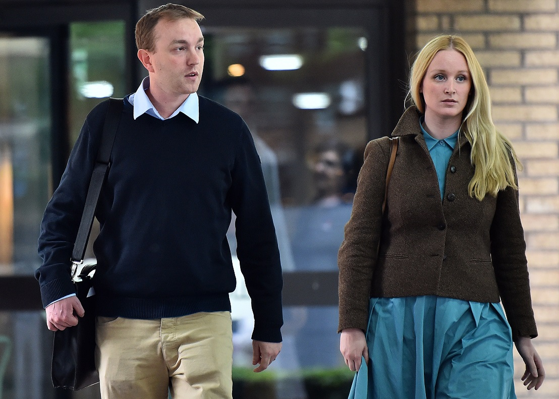 Tom Hayes (L) leaves Southwark Crown Court