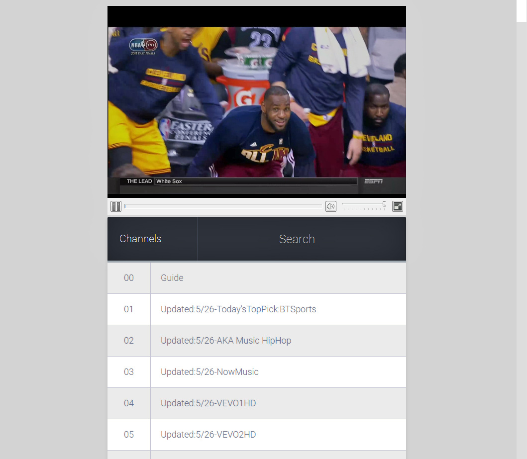The web interface of cCloud TV