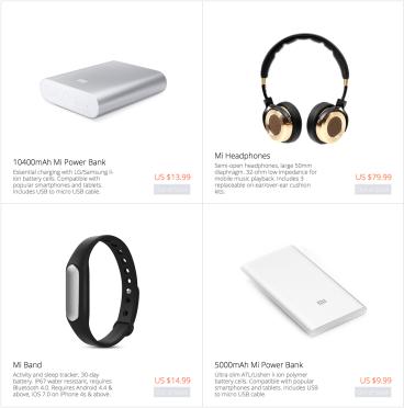 Xiaomi Power Bank, headphones, Fitness tracker