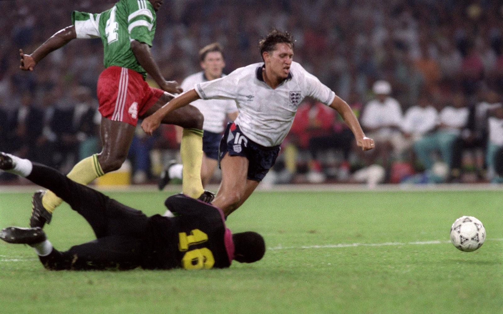 Gary Lineker is tripped in Cameroon match