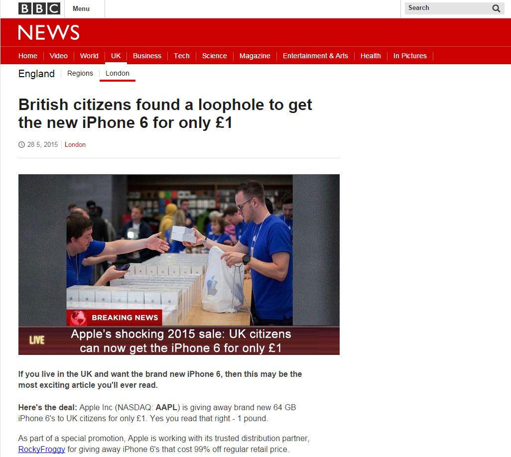 A fake BBC article iPhone 6 scam