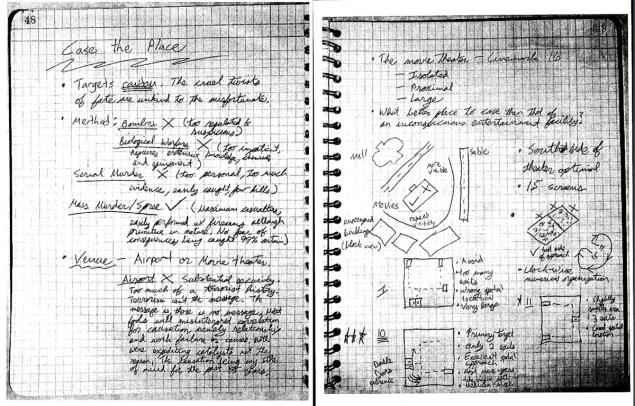 James Holmes notebook