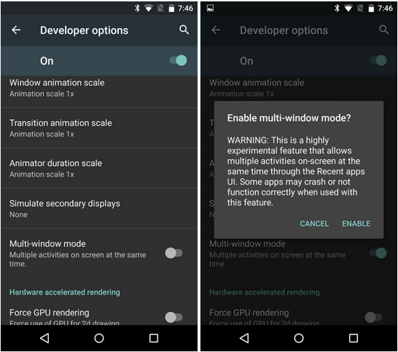 Android M Multi-Window mode
