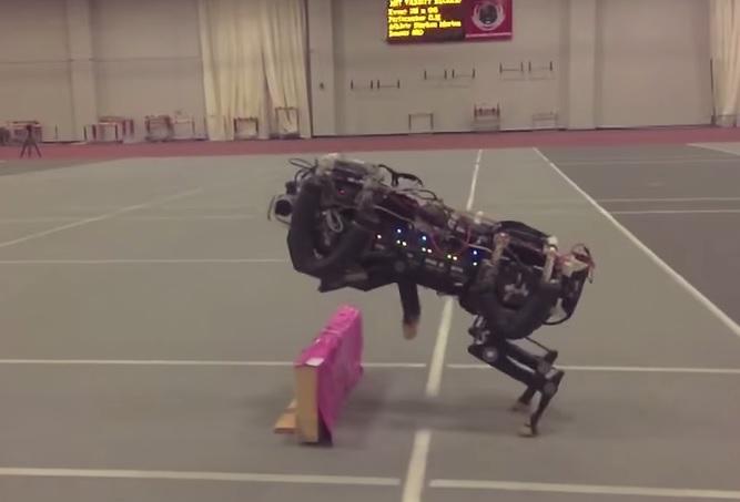 robot cheetah jumps hurdles