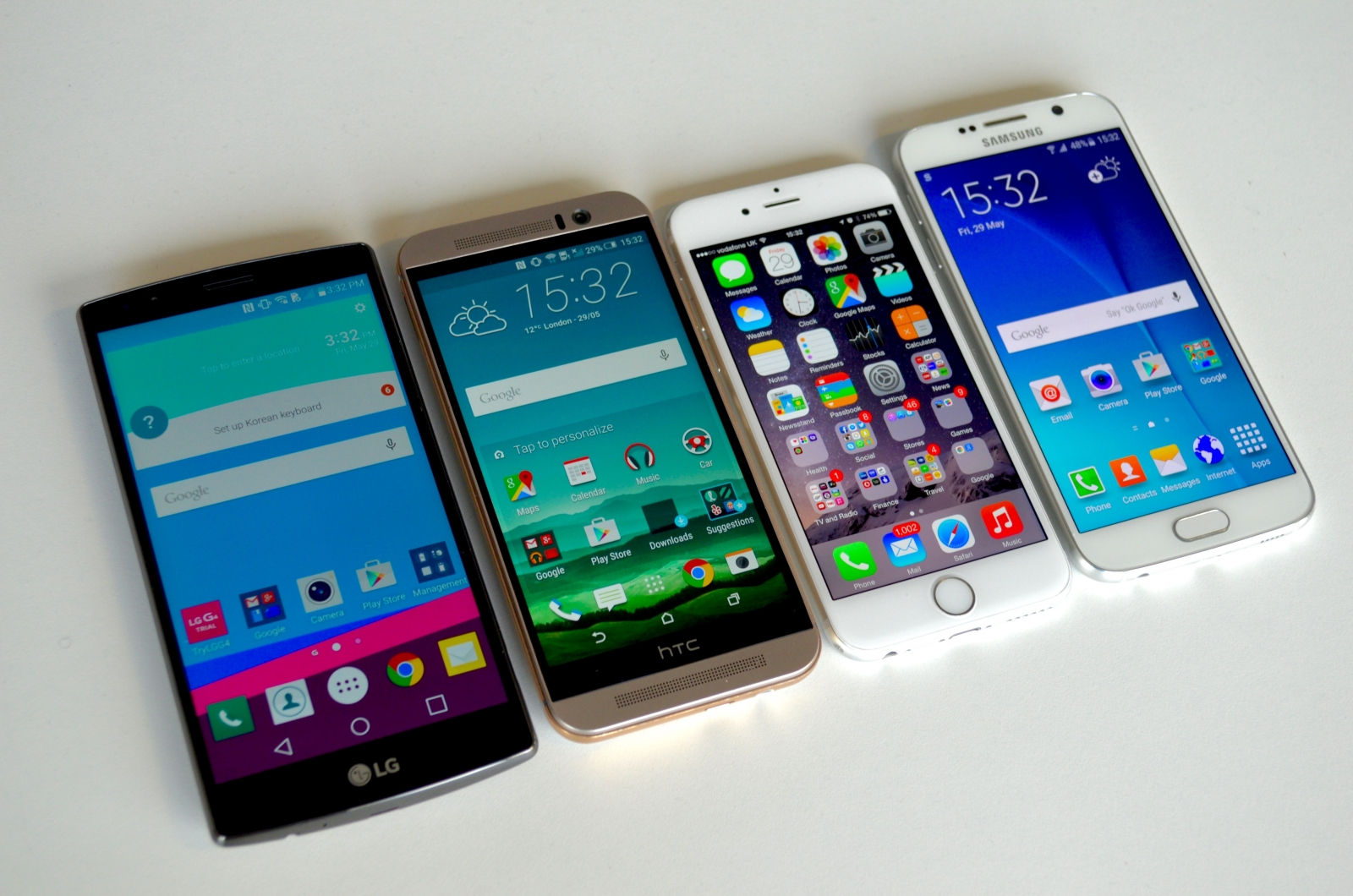 iPhone Galaxy S6 One M9 LG G4