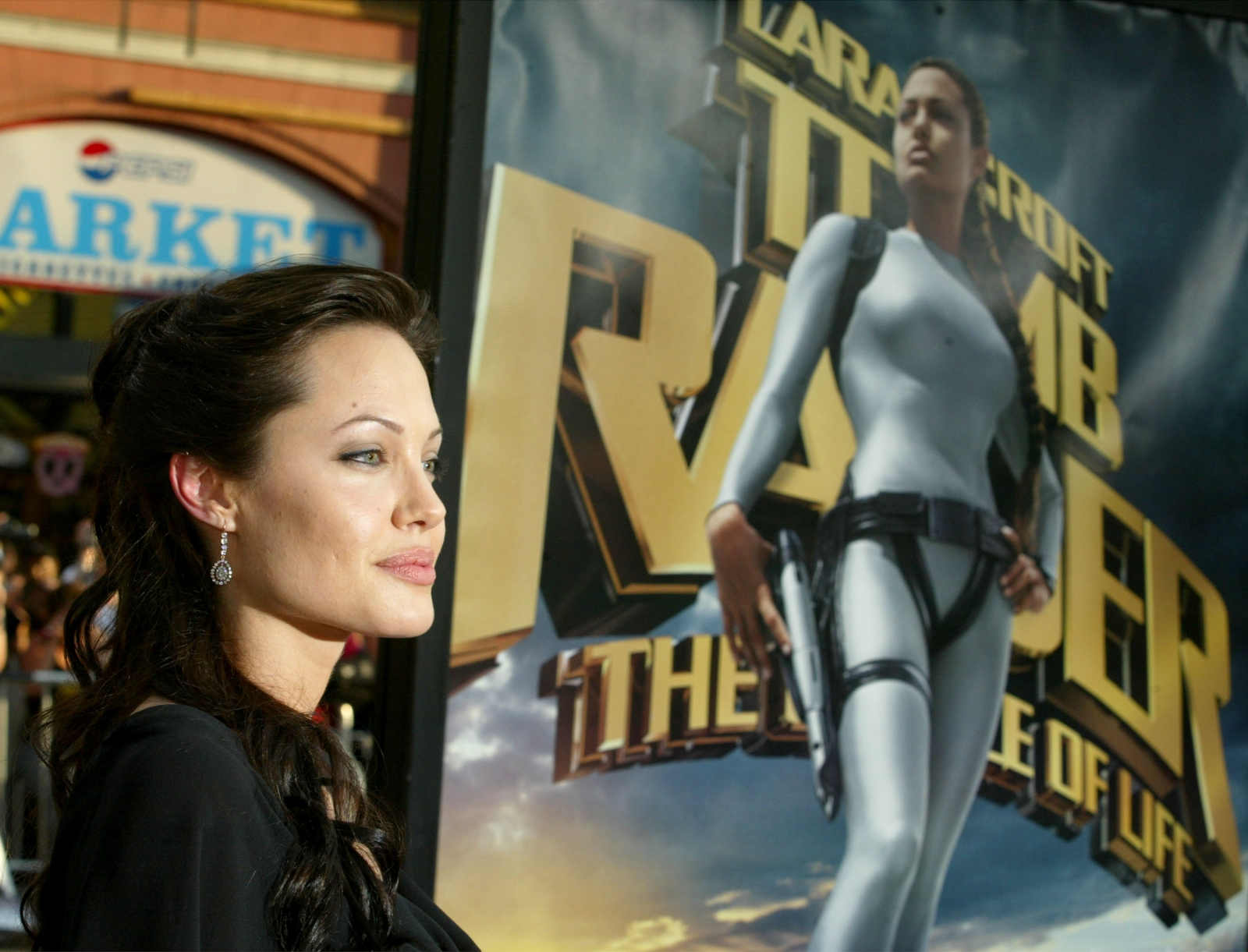 Angelina Jolie promoting Tomb Raider 2