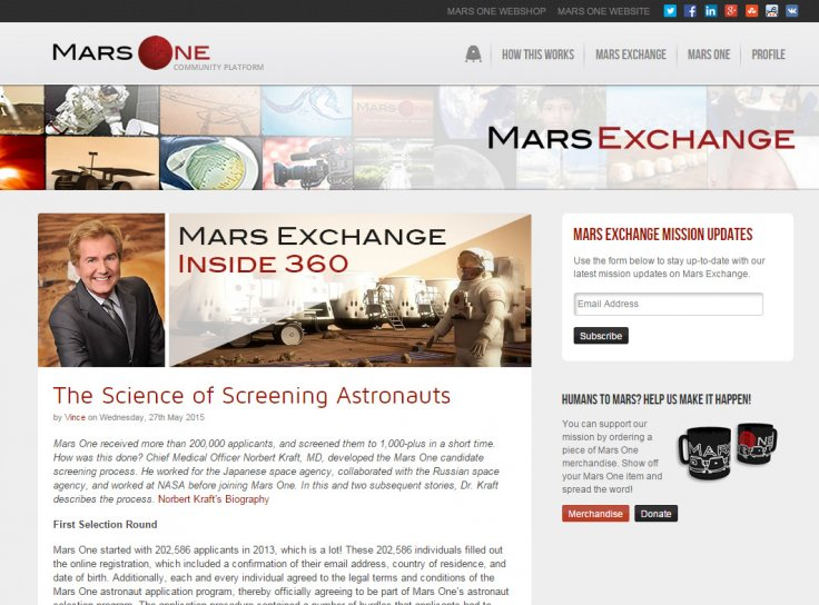 Mars One blog post by Vince Hyman