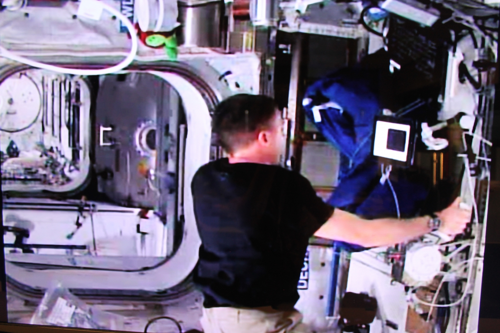 NASA astronaut Terry Virts tests the joystick