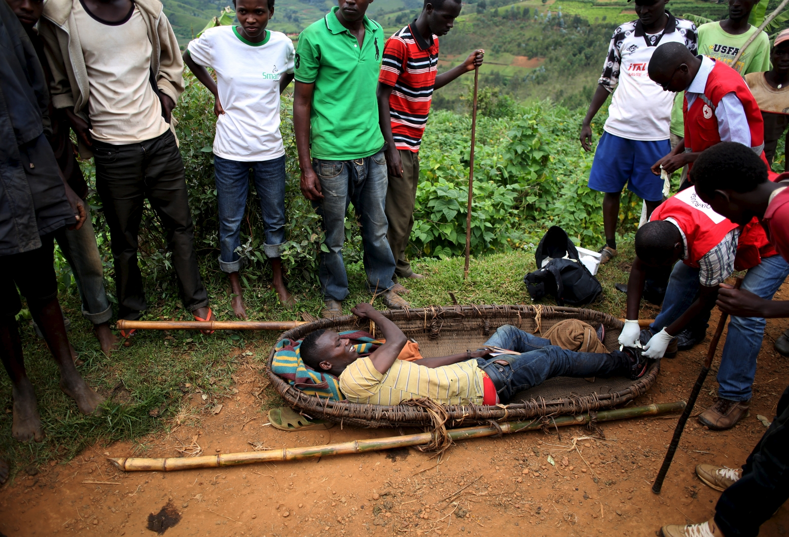 Police beating protester Burundi