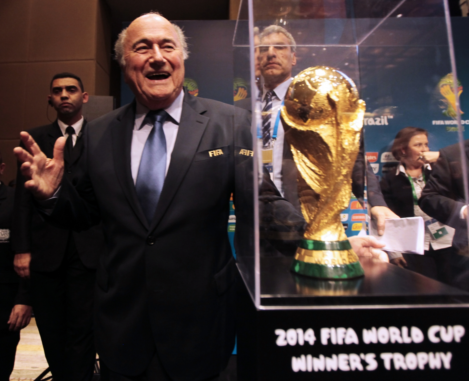Sepp Blatter and the World Cup trophy