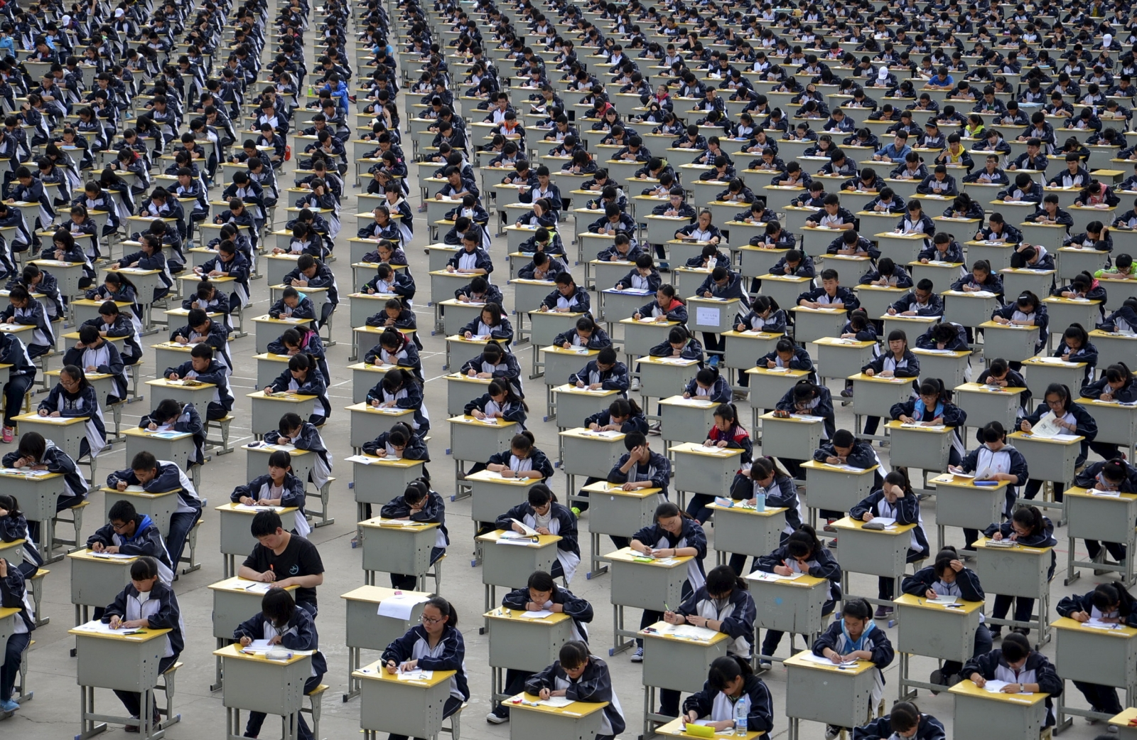 udents take an examination on