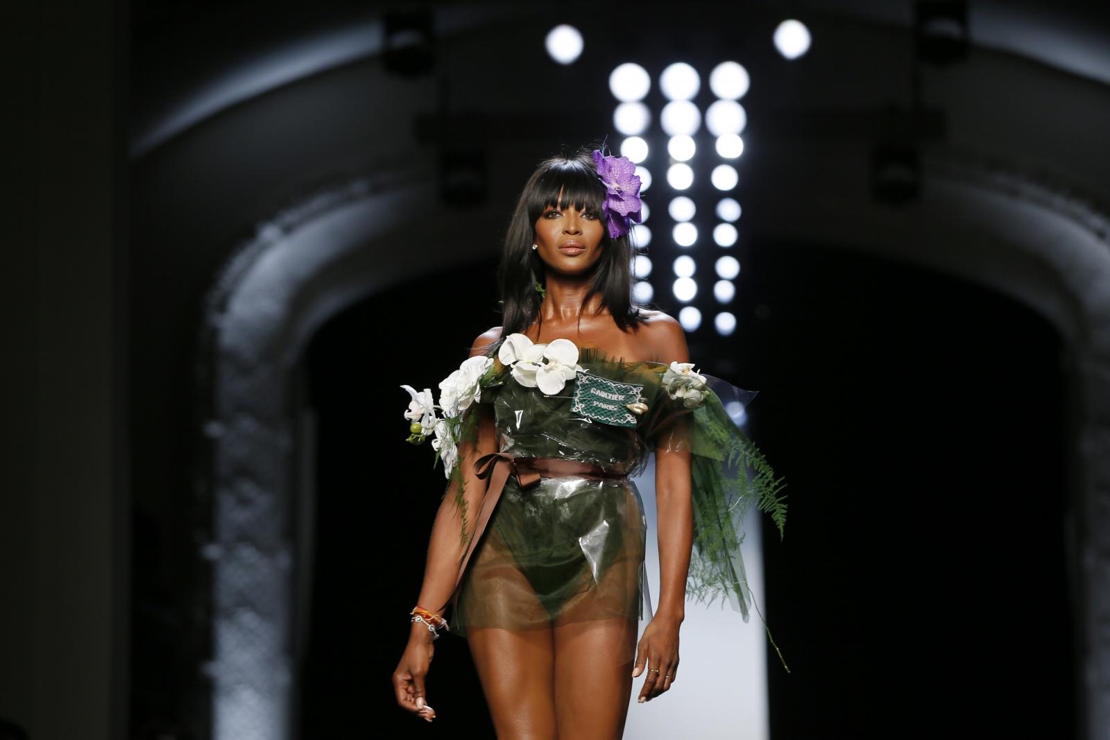 Naomi Campbell walks for Jean Paul Gaultier