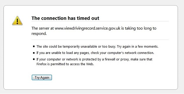 DVLA website crashes